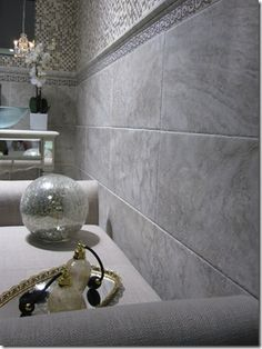 Example of bathroom using Florida Tile Cinema HDP in Ivory Lace.  Would like to use this size tile (12x24) in our shower and square tile (18x18) on the floor.