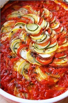 Ratatouille (eggplant, squash, zucchini, bell pepper).. This is a Delicious Vegetable Recipe!!!!!! but i think it would be best in the Fall