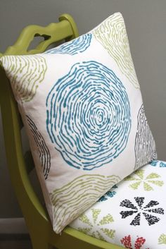 Water Ripple Hand Printed Pillow - Teal/Lime/Black #craftland #sew