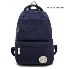 กระเป๋าเป้สะพายหลัง ผ้าแคนวาส รุ่น A7MC6051BL - สีน้ำเงิน