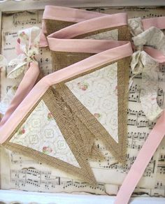 Pink Roses and Burlap Banner - Nursery Decor - Mantel Decor - Window Dressing - Wall Decor - Tan and White Vintage Bunting, Burlap Bunting, Fabric Bunting, Bunting Flags, Bunting Garland, Bunting Pattern, Sewing Crafts, Sewing Projects, Diy Crafts