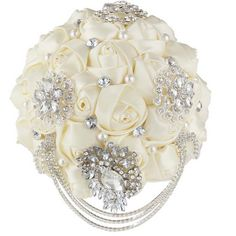 20 cm HANDMADE Wedding Brooch Bouquet crystal Satin Flower Faux pearl Posy WB35 #Unbranded