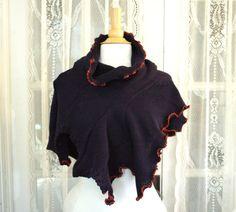 Navy Knit Cowl. Asymmetrical Shawl. Upcycled recycled. Eco friendly by blissjoybull, $45.00.  Katniss Everdeen. Eco friendly.