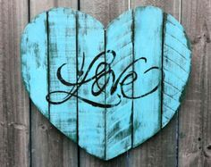 Shabby Chic Handmade Reclaimed Pallet Wood LOVE Heart Wall Hanging Distressed Chalk Paint