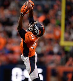 Emmanuel Sanders (10) of the Denver Broncos makes a 35-yard grab in the second quarter. The Denver Broncos played the Miami Dolphins at Sports Authority Field at Mile High in Denver on November 23, 2014. (Photo by AAron Ontiveroz/The Denver Post)-- #ProFootballDenverBroncos