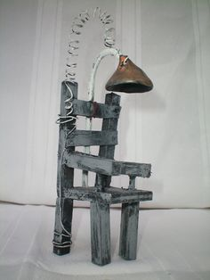 electric chair the HAUNTED CONSTRUCTION COMPANY.  miniature haunted antiques. $35.00, via Etsy.