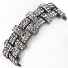Justine Simmons Jewelry Clear Crystal T-Shape Stretch Bracelet at HSN.com