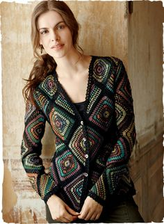 Crochet cardigan inspired by stained glass. Multi-colored diamonds connected by…
