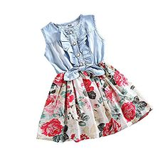 7068ca34bf Pandamum Little Girls Denim Floral Print Sleeveless Skirt Dresses Summer  Dress Outfits