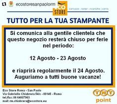 Chiusi per ferie dal 12/8 al 23/8. Buone vacanze! http://bit.ly/eco11-99 http://ift.tt/29xoOhM #ecostoresanpaolorm #sanpaolo #roma #Repost @ecostoresanpaolorm