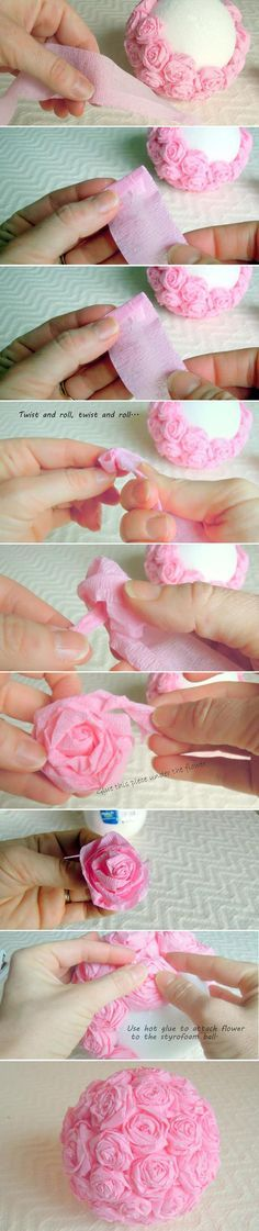 Shabby Chic Pink Roses Ball - diy - handmade