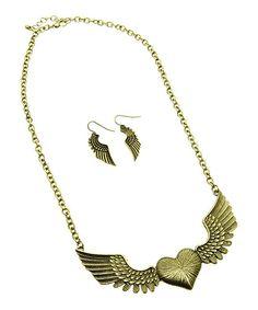 Antique Gold Winged Heart Bib Necklace & Earrings
