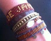 manchette de bracelets brésiliens marron et or