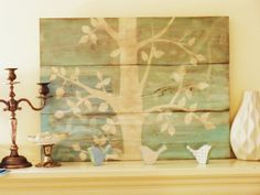 Stencil on reclaimed wood
