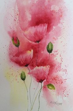 easy watercolor paintings for beginners Watercolor Poppies, Watercolor Art Diy, Watercolor Projects, Watercolor Paintings For Beginners, Alcohol Ink Painting, Ink Art, Painting & Drawing, Flower Art, Collage