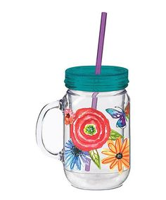 Love this Watery Blooms Double-Walled Mason Jar Cup by Cypress Home on #zulily! #zulilyfinds