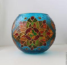 """Купить Большой подсвечник """"Мозаика"""" - разноцветный, бирюзовый, абстрактный, цветок, Роспись по стеклу, авторская работа"""