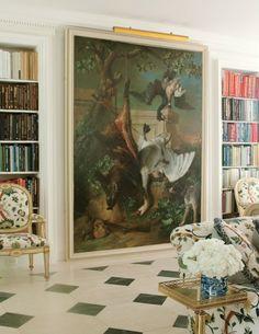 Classical wall art, bookshelves