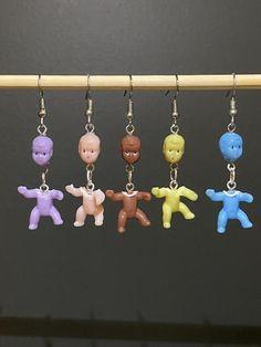 Diy Earrings Easy, Baby Earrings, Funky Earrings, Funky Jewelry, Ear Jewelry, Unique Earrings, Cute Jewelry, Jewelry Crafts, Handmade Jewelry