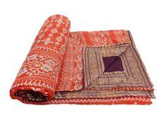 Dark purple flip side.....Vintage Throw Kantha Quilt Antique Reversible Indian Gudari Handmade Bedspread Bedding Blanket Ralli Ethnic Suzani Saree Sari Fabric 412