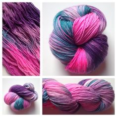 LIMITED EDITION SPARKLE SKEINS!Color(s): bright pink, purple, teal (I use only professional grade acid dyes) Fiber(s): 75% superwash merino, 20% nylon, 5% stellina (a non-metal fiber that SPARKLES!)Weight: fingering Length/yardage: 438Care instructions: machine washable, lay flat to dryWhy buy hand dyed yarn vs craft store yarn