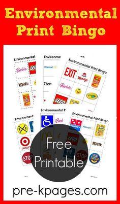 Environmental Print Bingo Game for Preschool and Kindergarten