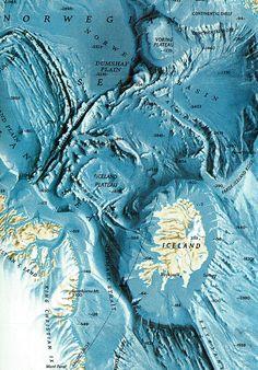 Map: Ocean topography surrounding Iceland
