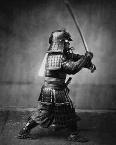 Samurai schwingt Schwert für das Foto
