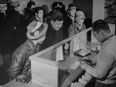 Bank teller at Japanese Internment Camp, Tule Lake, Ca