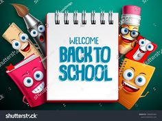 Back to school vector characters background template with white empty space for educational text and colorful funny school cartoon mascots. School Cartoon, School Humor, Funny School, Applique Templates, Empty Spaces, En Stock, Background Templates, Technology Logo, Cartoon Images