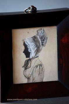 18th / 19th Century English Regency Portrait Minature - Silhouette - Lady