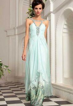 Sari in Light Blue Jewelled Neck Evening Dress      30759