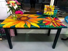 Colorful Wood Table / Refinished Kitchen Table / Handpainted Table / Resin Finished Table / Faux Stained Glass Table / Unique Dining Table - All About Decoration Whimsical Painted Furniture, Hand Painted Furniture, Funky Furniture, Colorful Furniture, Art Furniture, Furniture Projects, Furniture Makeover, Furniture Stores, Furniture Design