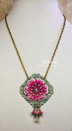 ButterBeeScraps - Pretty Pink Flower Filigree Necklace