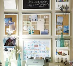 Trendy home office organization wall pottery barn Be Organized, Getting Organized, Office Organization Tips, Office Ideas, Organising Ideas, Calendar Organization, Organizing Life, Kitchen Organization, Kitchen Storage