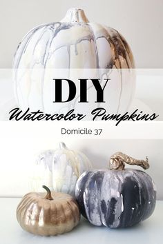 Easy DIY Watercolor Pumpkins, Easy Neutral Fall Decor Idea