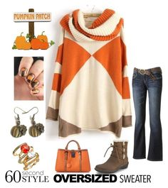 """""""Heading to the Pumpkin Patch : 60 second style oversized sweater contest"""" by im-karla-with-a-k ❤ liked on Polyvore featuring moda, Wallflower, Bottega Veneta, UGG Australia, Ariella Collection y Hostess"""