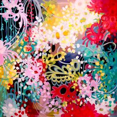 """gotta love a 48""""x48"""" tangle of color.....for a future baby girl's room?"""