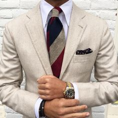 """Full power of today's outfit by @rickycarlo wearing a beautiful combo with a Viola Milano handrolled """"Sand Mixed Stripe - Grenadine / Shantung"""" tie & handrolled printed silk pocket square…   Find all online at www.violamilano.com  #vm #violamilano"""