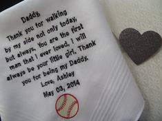 40 words of your choice. Father's Wedding embroidered handkerchief. Baseball, Basketball, or sports fan. Men's Hanky. Just for Dad gift.