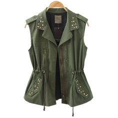 Military Green Studded Tank Coat with Drawstring Waist ($66) via Polyvore