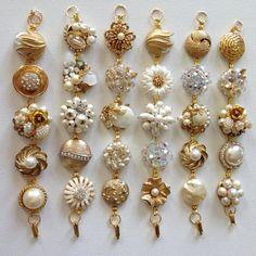 This listing is for a set of 6 repurposed vintage earrings bracelets - - ivory pearl, clear rhinestones, crystal clusters, pearl clusters, Jewelry Crafts, Jewelry Art, Jewlery, Fine Jewelry, Jewelry Design, Jewelry Making, Bride Earrings, Vintage Earrings, Clip On Earrings