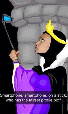 She has drawn Sleeping Beauty villain Maleficent taking a selfie...