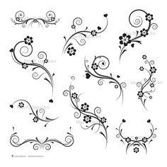 Love these wispy swirls.... Black and White Damask Decorations Flourish by MayPLDigitalArt, $5.50