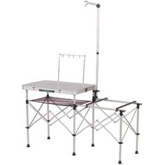 2 IN1 Folding Table Camping Kitchen Storage Aluminum Stand Table Cooking BBQ