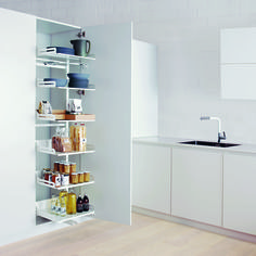 A narrow larder unit pull-out is a real storage wonder! Just one simple movement lets you see the unit's entire contents at a glance. Larder Unit, Grocery Items, Bathroom Medicine Cabinet, Floating Shelves, Bookcase, Storage, Simple, Contents, Modern