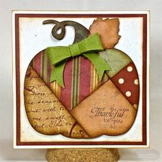handmade Thanksgiving card from Enchanted Ladybug Creations: Taylored Expressions - Thankful for you - Die Foucus ... patchwork pumpkin ... patterned papers ... inking around the edges for depth ... luv the warm Fall colors she used ...