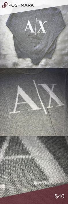 Armani Exchange A/X EUC Gray Logo Sweater Size S Armani Exchange A/X Excellent Used Condition  Logo Sweater Grey Size tag is missing but this is a Small sweater.  Small fabric pull on the bottom of the A. Other than that, this sweater is gorgeous. Armani Exchange Sweaters Crew & Scoop Necks