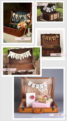 Crystal and Crates Vintage Rentals has vintage suitcases for cards