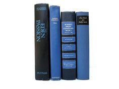 Black and Blue Vintage Books / Book Decor / by redladybugz on Etsy, $23.00